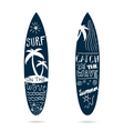 surfboard set textured in blue color vector image vector image