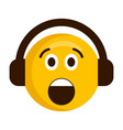surprised emoji with headphones icon vector image vector image