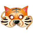 tiger mask with strings drawn in cartoon style vector image vector image