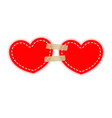 two red hearts on a paper adhesive velcro tapes vector image vector image