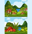 two river scenes with mushrooms in garden vector image vector image