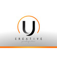 U letter logo design with black orange color cool