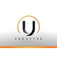 u letter logo design with black orange color cool vector image