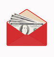 usa banking currency in open red envelope one vector image