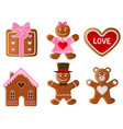 valentine gingerbreads vector image vector image