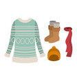 winter clothes with blue wool sweater and scarf vector image