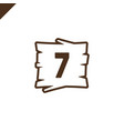 wooden alphabet blocks with number 7 in wood vector image vector image