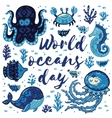 World oceans day Card with cute animals in vector image vector image