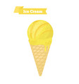 yellow ice cream in cone lemon taste vector image vector image