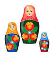 wooden nesting dolls in shawls and ethnic vector image