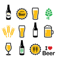 Beer colorful icons set - bottle glass vector image