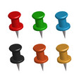 3d push pins on white background set 3d push