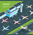 airport isometric background composition vector image vector image