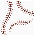 Baseball stitches softball laces isolated on