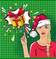 beautiful woman in santa claus hat in the pop art vector image vector image