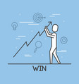 businessman holding the arrow up win work vector image
