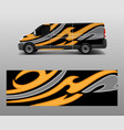 cargo van decal with green wave shapes truck and vector image vector image