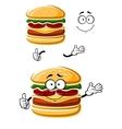Cartoon happy cheeseburger with thumb up vector image vector image