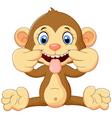 Cartoon monkey holding banana fruit vector image vector image