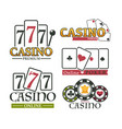 casino and poker logotype set premium game logo vector image