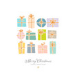 christmas greeting card with gift boxes on white vector image vector image