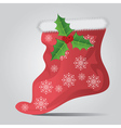 Christmas sock on gray background2 vector image