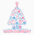 Christmas tree line style vector image
