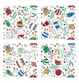 colored handdrown christmas toys seamless pattern vector image vector image