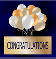 congratulations card with cute colorful balloons vector image vector image
