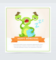 cute funny green monster yawning happy monsters vector image vector image