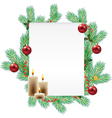 empty list decorated with christmas branches vector image vector image