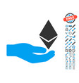 ethereum offer hand icon with bonus pictograms vector image vector image