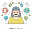 Flat line Technical Support Concept vector image vector image