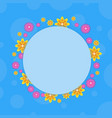 frame with flower on blue backgrounds vector image vector image