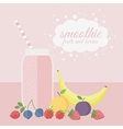 Fruit and berry smoothie in jar on a table vector image