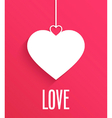 Greeting card with hanging heart vector image vector image