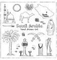 handdrawn of saudi arabia landmarks vector image