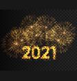 happy new year 2021 golden firework background vector image vector image