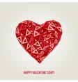 Happy Valentines Day card with low poly heart vector image vector image