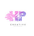hp h p zebra lines letter logo design with vector image