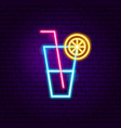lemonade glass neon sign vector image
