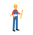 male construction worker character holding paper vector image vector image