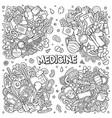 medicine cartoon doodle designs set vector image vector image