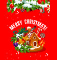 merry christmas banner with gingerbread house vector image vector image