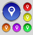 Minus Map pointer GPS location icon sign Round vector image vector image