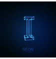 Neon 3D letter I vector image