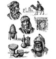 orient collection middle east - hand drawn set of vector image