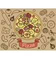 Pizza with ingredients banner vector image