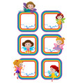 rainbow frame templates with fairies flying vector image vector image