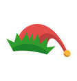 red and green hat of elf christmas icon vector image